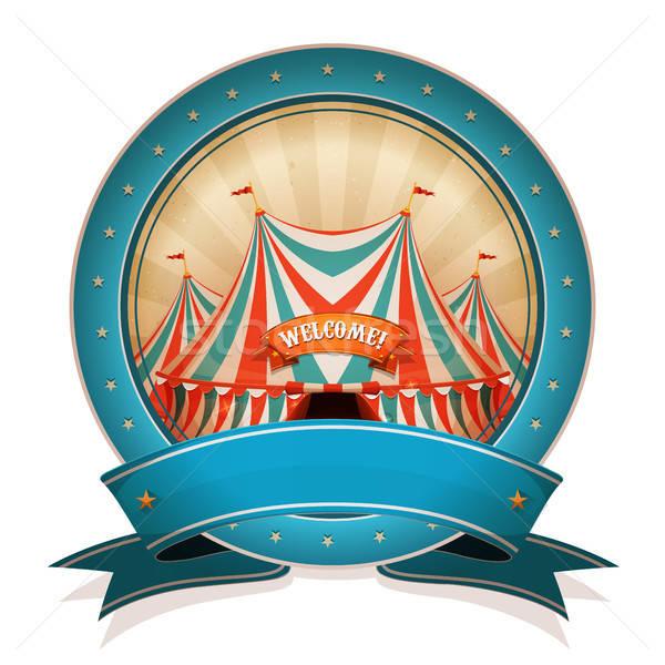 Vintage cyrku odznakę wstążka duży górę Zdjęcia stock © benchart
