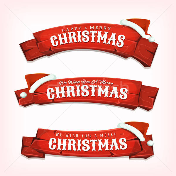 Merry Christmas Wishes On Red Wood Banners Stock photo © benchart