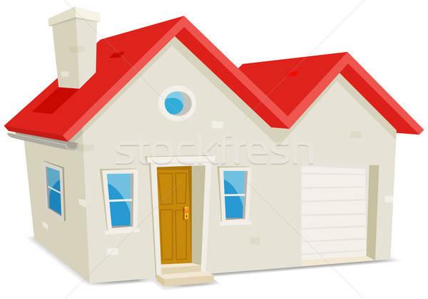 Maison garage illustration cartoon domestique extérieur de la maison Photo stock © benchart
