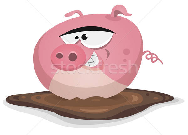 Toon Pig Wash In Pond Bath Stock photo © benchart