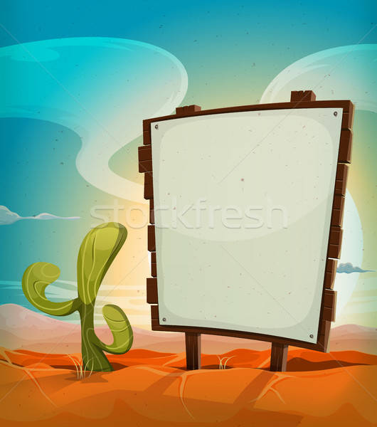 Summer Mexican Desert With Wood Sign Stock photo © benchart