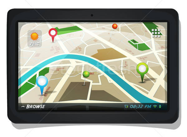 Street Map With GPS Pins On Tablet PC Screen Stock photo © benchart