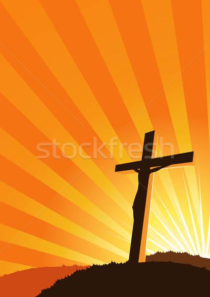 Christelijke kruis silhouet illustratie zon lichten Stockfoto © benchart