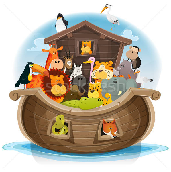 Noah's Ark With Cute Animals Stock photo © benchart