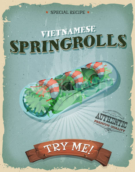 Stock photo: Grunge And Vintage Vietnamese Spring rolls Poster