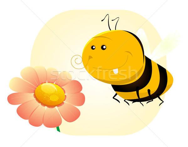 Foto d'archivio: Primavera · ape · illustrazione · cute · cartoon · fiore