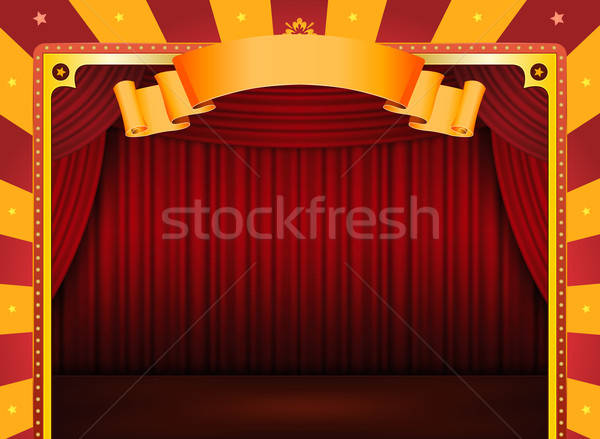Circus Poster With Stage And Red Curtains Stock photo © benchart