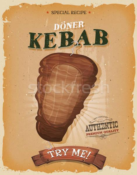 Grunge bağbozumu kebap sandviç poster örnek Stok fotoğraf © benchart