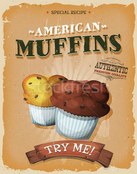 Grunge And Vintage American Muffins Poster Stock photo © benchart