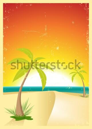Grunge Tropical Beach Poster Stock photo © benchart