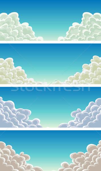 Cloudscape Set On Blue Sky Background Stock photo © benchart