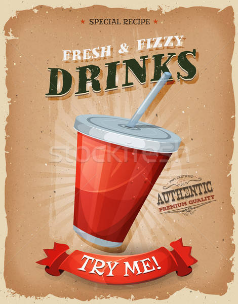 Grunge And Vintage Drinks And Beverage Poster Stock photo © benchart