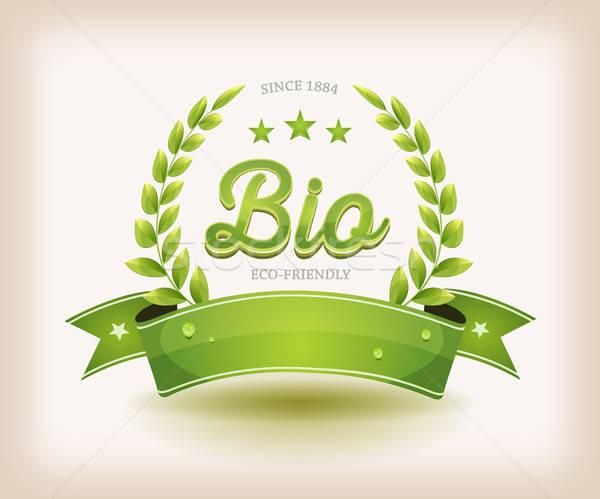 Bio eco label groene banner illustratie Stockfoto © benchart