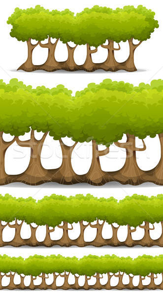 Seamless Forest Trees, Hedges And Bush Set For Game Ui Stock photo © benchart