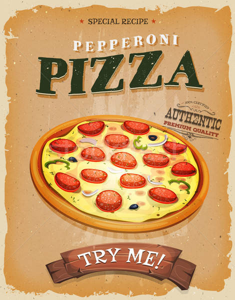 Grunge vintage pepperoni pizza affiche illustration Photo stock © benchart