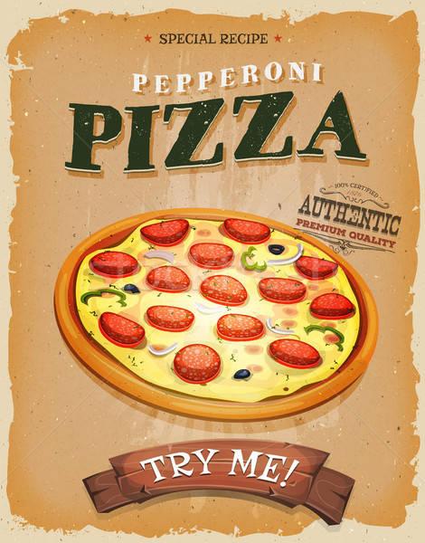 Grunge vintage pepperoni pizza poster illustrazione Foto d'archivio © benchart