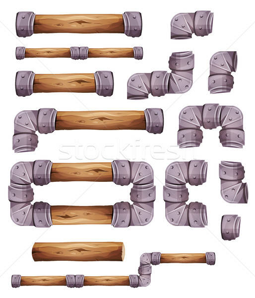 Design Stone And Wood Elements For Platform Game Ui Stock photo © benchart