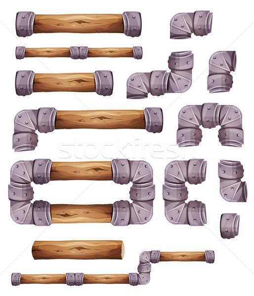 Ontwerp steen hout communie spel Stockfoto © benchart