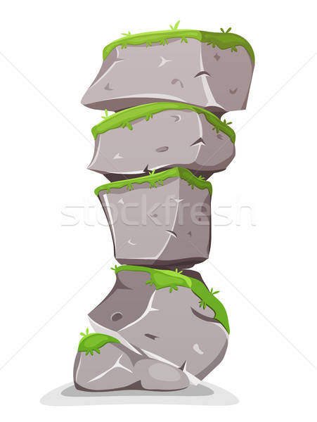 Boulders Tower With Grass Stock photo © benchart