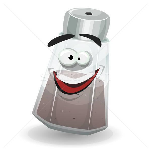 Gelukkig zwarte peper shaker karakter illustratie grappig Stockfoto © benchart