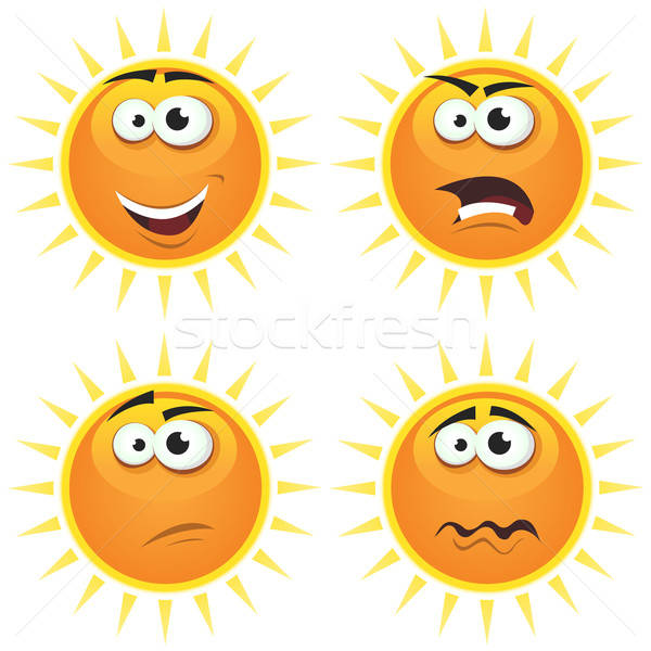 Cartoon zon iconen emoties illustratie ingesteld Stockfoto © benchart