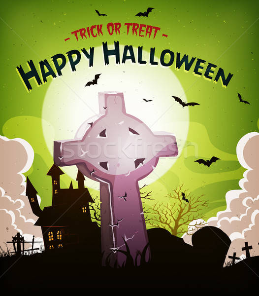 Halloween Holidays Background With Christian Tombstone Stock photo © benchart