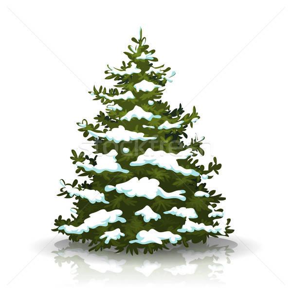 Рождества сосна снега иллюстрация изолированный белый Сток-фото © benchart