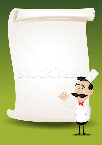 Chef restaurant poster menu illustratie gelukkig Stockfoto © benchart