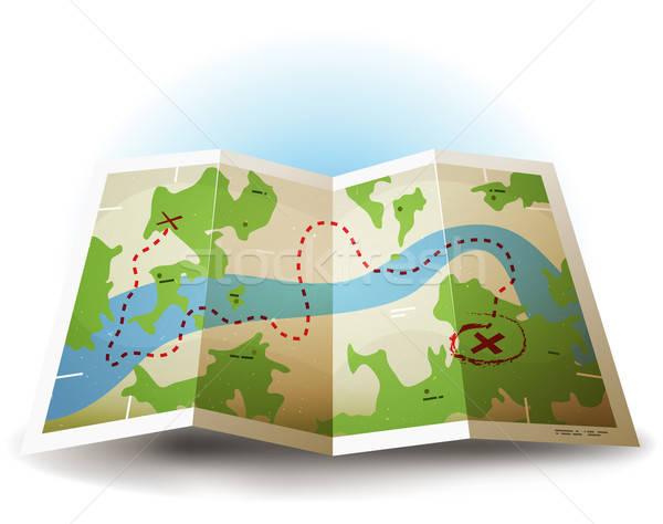 Cartoon Grunge Earth Map Icon Stock photo © benchart