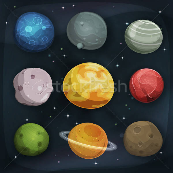 Comic Planets Set On Space Background Stock photo © benchart