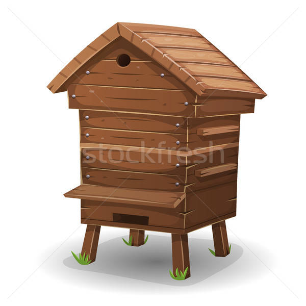 Wood Hive For Bees Stock photo © benchart