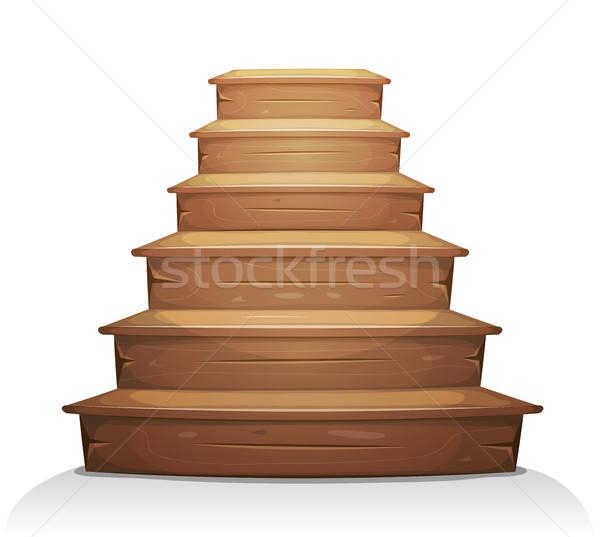 Fa lépcsősor illusztráció rajz fából készült lépcsőfeljáró Stock fotó © benchart