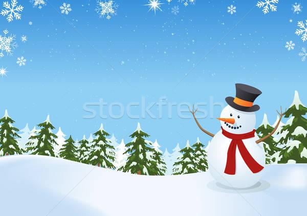 Kardan adam kış manzara örnek içinde çam Stok fotoğraf © benchart