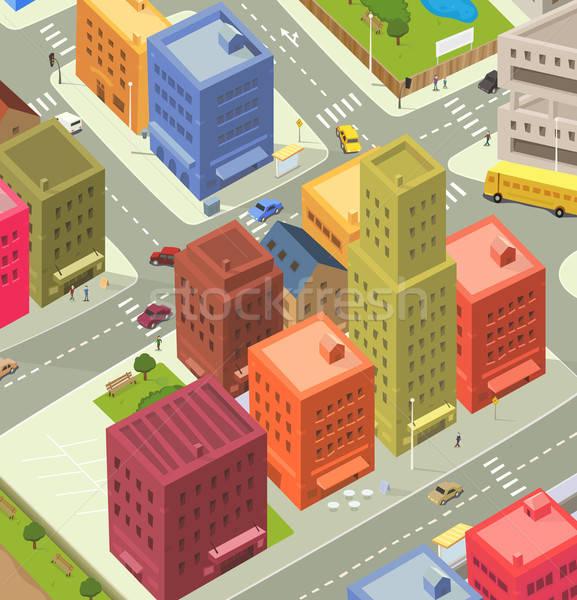 Cartoon City Aerial View Stock photo © benchart