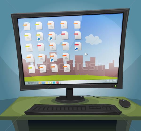Besturingssysteem scherm illustratie cartoon nacht Stockfoto © benchart
