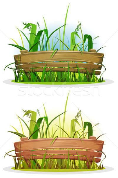 Spring Blades Of Grass With Wood Fence Stock photo © benchart