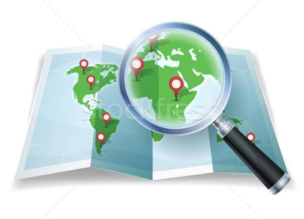 Magnifying Glass On World Map Stock photo © benchart
