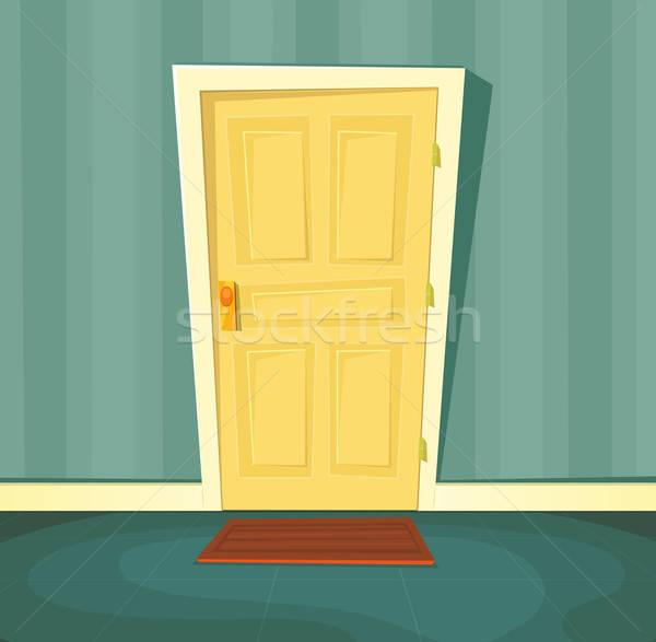 Cartoon парадная дверь иллюстрация внутри сцена Сток-фото © benchart