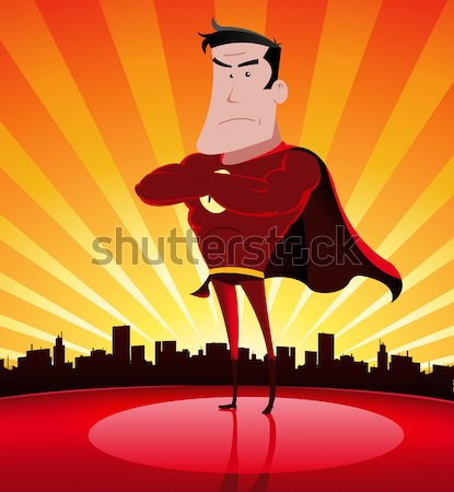 Homme illustration cartoon femme permanent Photo stock © benchart