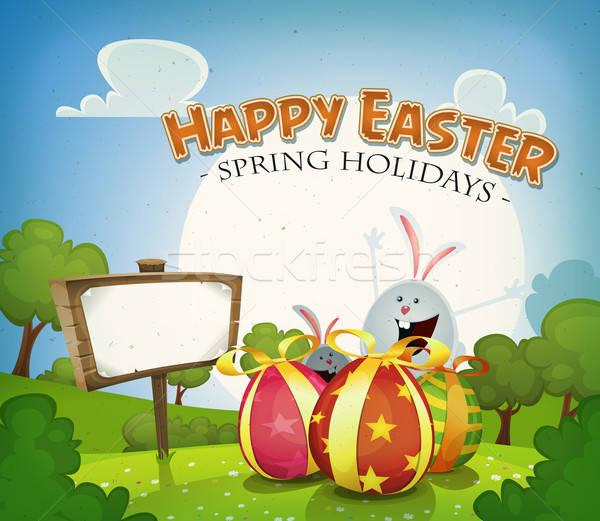 Stockfoto: Pasen · vakantie · illustratie · cartoon · vrolijk · pasen · voorjaar