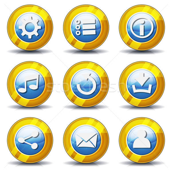 Oro iconos ui juego ilustración establecer Foto stock © benchart