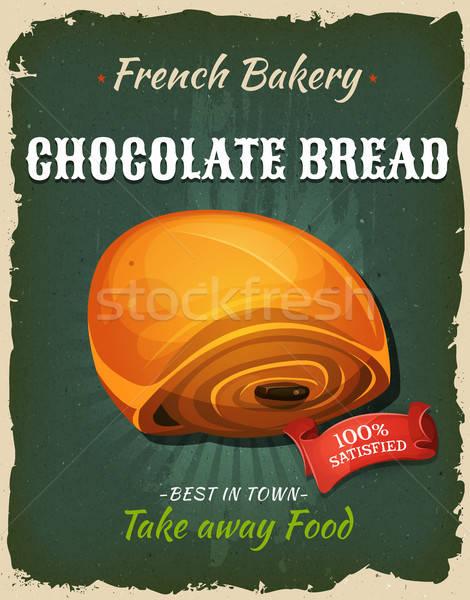 Retro Chocolate Bread Poster Stock photo © benchart