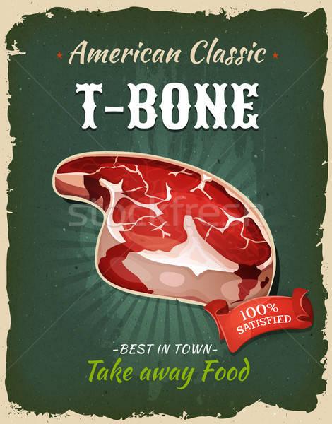 Retro fast-food biftek poster örnek dizayn Stok fotoğraf © benchart