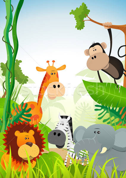 Wilde dieren illustratie cute cartoon afrikaanse savanne Stockfoto © benchart