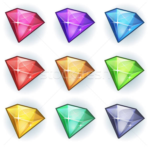 Cartoon Gems And Diamonds Icons Set Stock photo © benchart