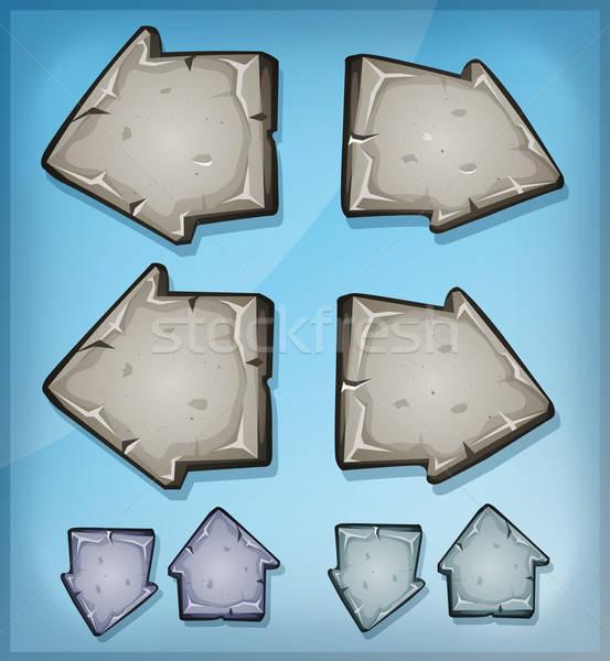 Kő nyilak feliratok ui játék illusztráció Stock fotó © benchart