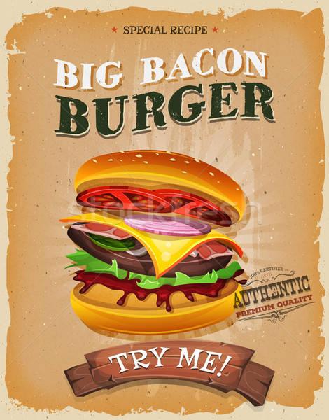 Grunge And Vintage Big Bacon Burger Poster Stock photo © benchart