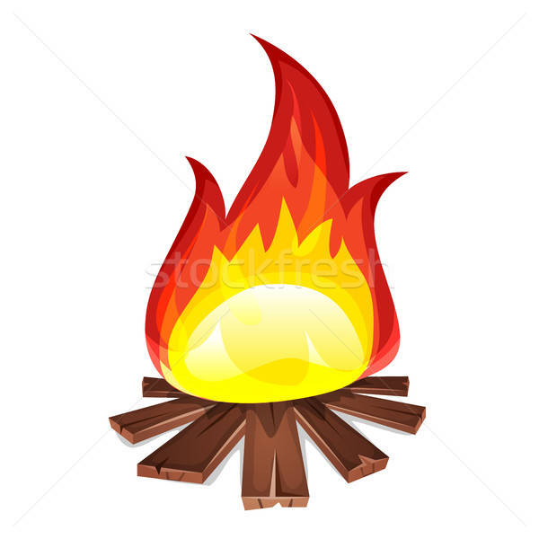 Vreugdevuur hout brandend illustratie cartoon Stockfoto © benchart