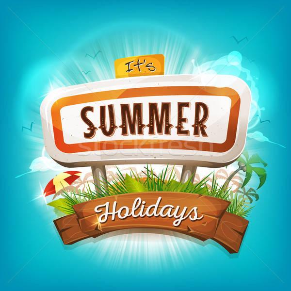 夏 休日 実例 デザイン 時間 ポスター ストックフォト © benchart