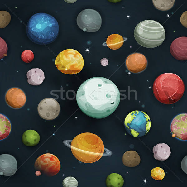 Seamless Planets And Asteroid Background Stock photo © benchart